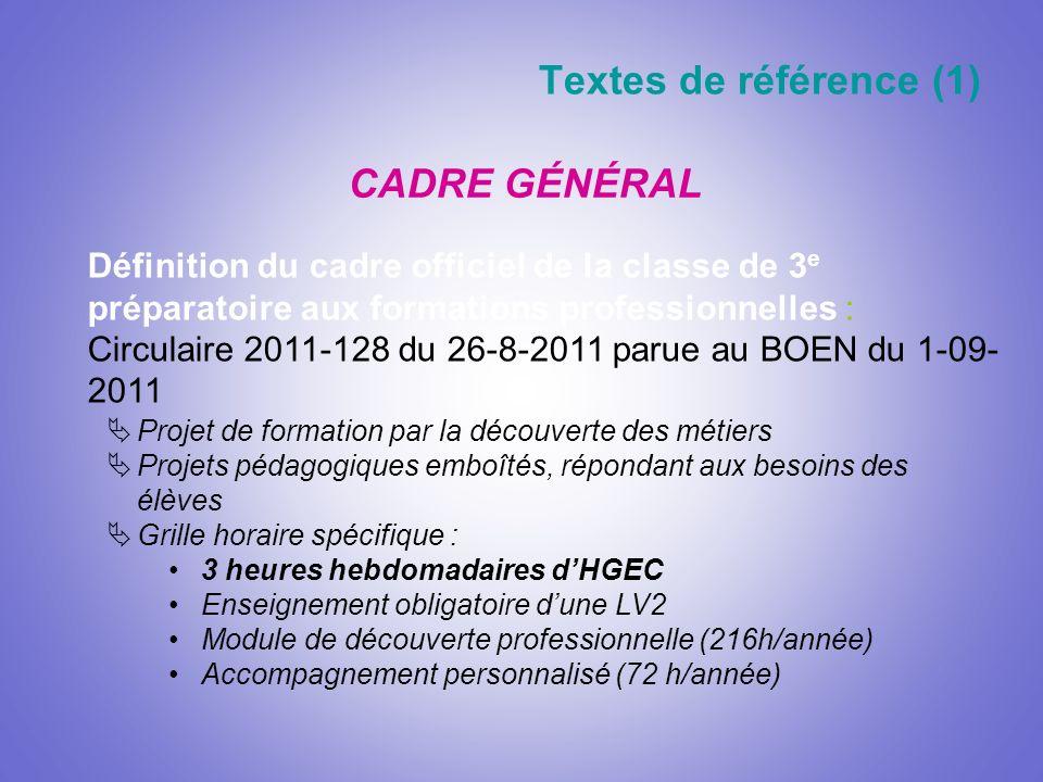 Textes de référence (1) CADRE GÉNÉRAL Définition du cadre officiel de la classe de 3 e préparatoire aux formations professionnelles : Circulaire 2011-