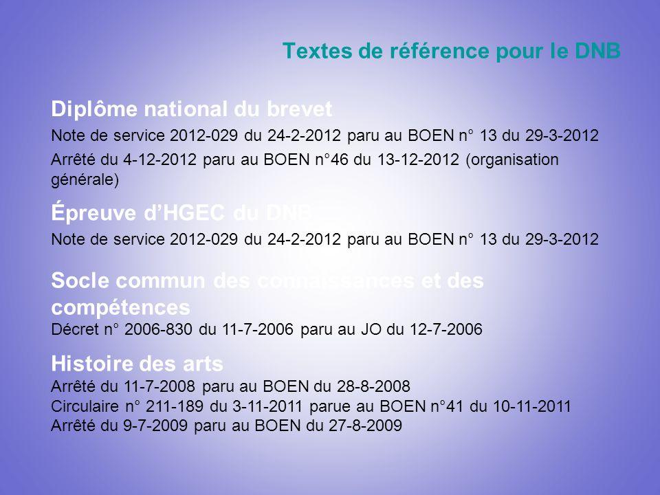 Textes de référence pour le DNB Diplôme national du brevet Note de service 2012-029 du 24-2-2012 paru au BOEN n° 13 du 29-3-2012 Arrêté du 4-12-2012 paru au BOEN n°46 du 13-12-2012 (organisation générale) Histoire des arts Arrêté du 11-7-2008 paru au BOEN du 28-8-2008 Circulaire n° 211-189 du 3-11-2011 parue au BOEN n°41 du 10-11-2011 Arrêté du 9-7-2009 paru au BOEN du 27-8-2009 Socle commun des connaissances et des compétences Décret n° 2006-830 du 11-7-2006 paru au JO du 12-7-2006 Épreuve dHGEC du DNB Note de service 2012-029 du 24-2-2012 paru au BOEN n° 13 du 29-3-2012
