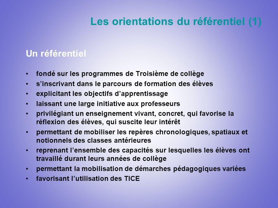 Les orientations du référentiel (1) Un référentiel fondé sur les programmes de Troisième de collège sinscrivant dans le parcours de formation des élèv