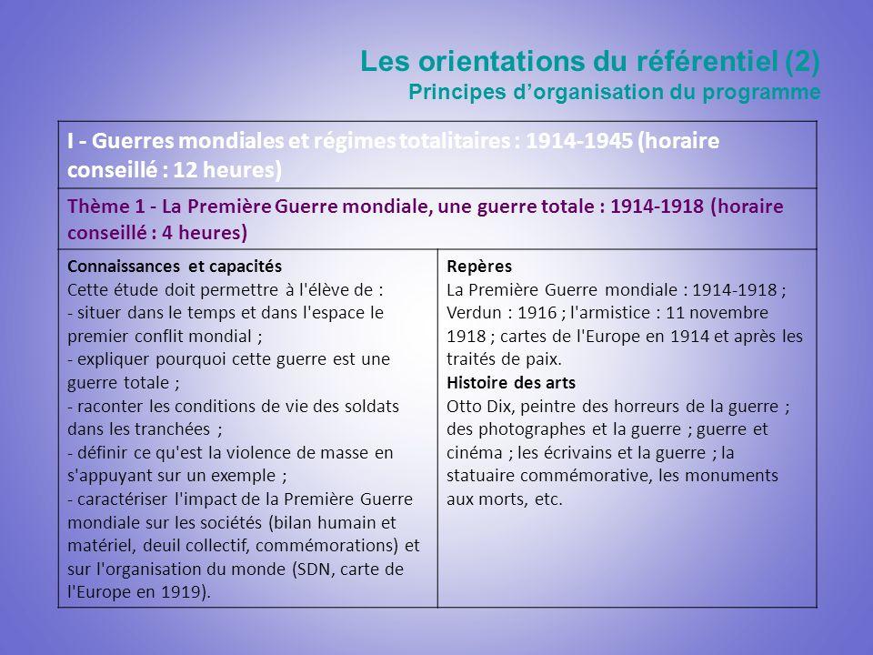 Les orientations du référentiel (2) Principes dorganisation du programme I - Guerres mondiales et régimes totalitaires : 1914-1945 (horaire conseillé