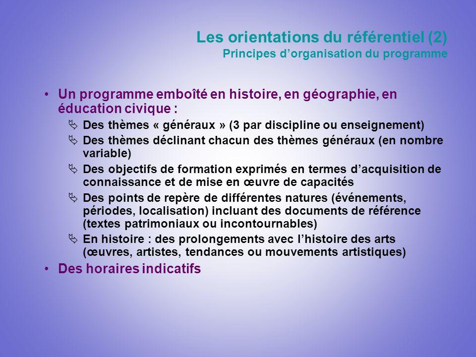 Un programme emboîté en histoire, en géographie, en éducation civique : Des thèmes « généraux » (3 par discipline ou enseignement) Des thèmes déclinan