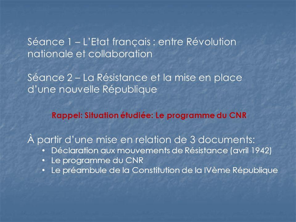 Séance 1 – LEtat français : entre Révolution nationale et collaboration Séance 2 – La Résistance et la mise en place dune nouvelle République Rappel: