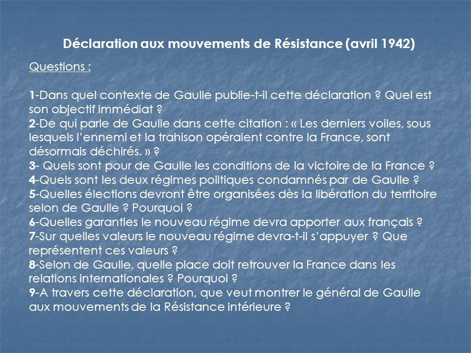 Questions : 1 -Dans quel contexte de Gaulle publie-t-il cette déclaration ? Quel est son objectif immédiat ? 2 -De qui parle de Gaulle dans cette cita