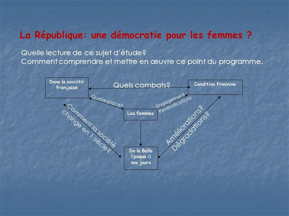 Sujet détude n° 2 – Les femmes dans la société française (de la Belle Epoque à nos jours) La République: une démocratie pour les femmes .