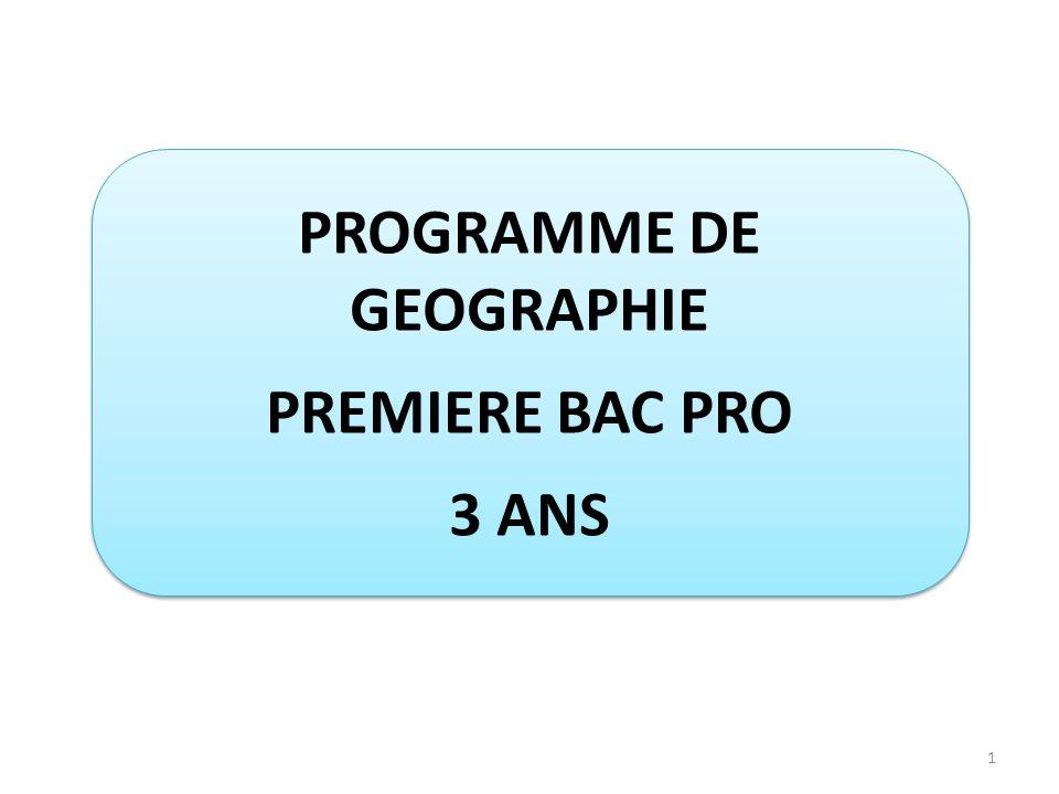 PROGRAMME DE GEOGRAPHIE PREMIERE BAC PRO 3 ANS PROGRAMME DE GEOGRAPHIE PREMIERE BAC PRO 3 ANS 1