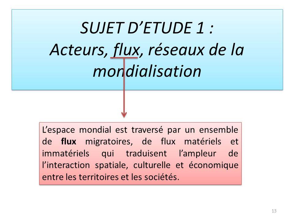 13 SUJET DETUDE 1 : Acteurs, flux, réseaux de la mondialisation Lespace mondial est traversé par un ensemble de flux migratoires, de flux matériels et