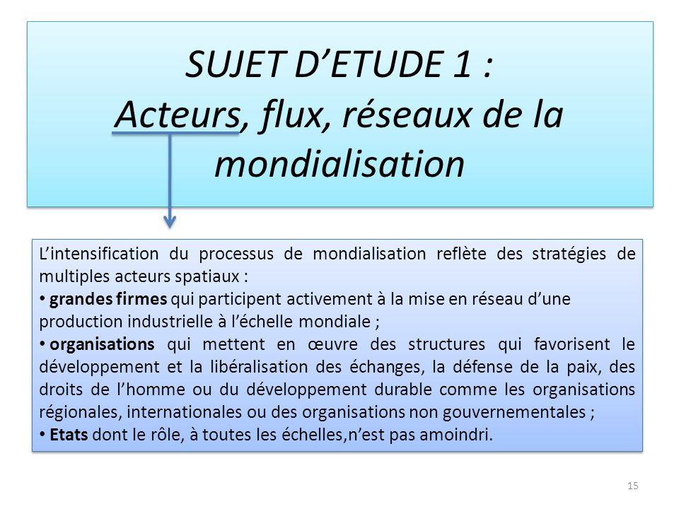15 SUJET DETUDE 1 : Acteurs, flux, réseaux de la mondialisation Lintensification du processus de mondialisation reflète des stratégies de multiples ac