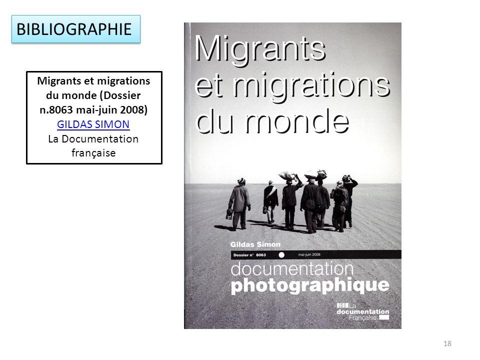 18 BIBLIOGRAPHIE Migrants et migrations du monde (Dossier n.8063 mai-juin 2008) GILDAS SIMON La Documentation française