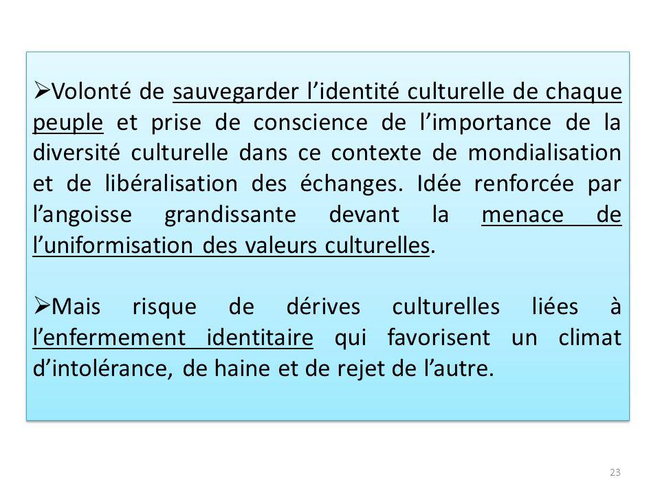 Volonté de sauvegarder lidentité culturelle de chaque peuple et prise de conscience de limportance de la diversité culturelle dans ce contexte de mond