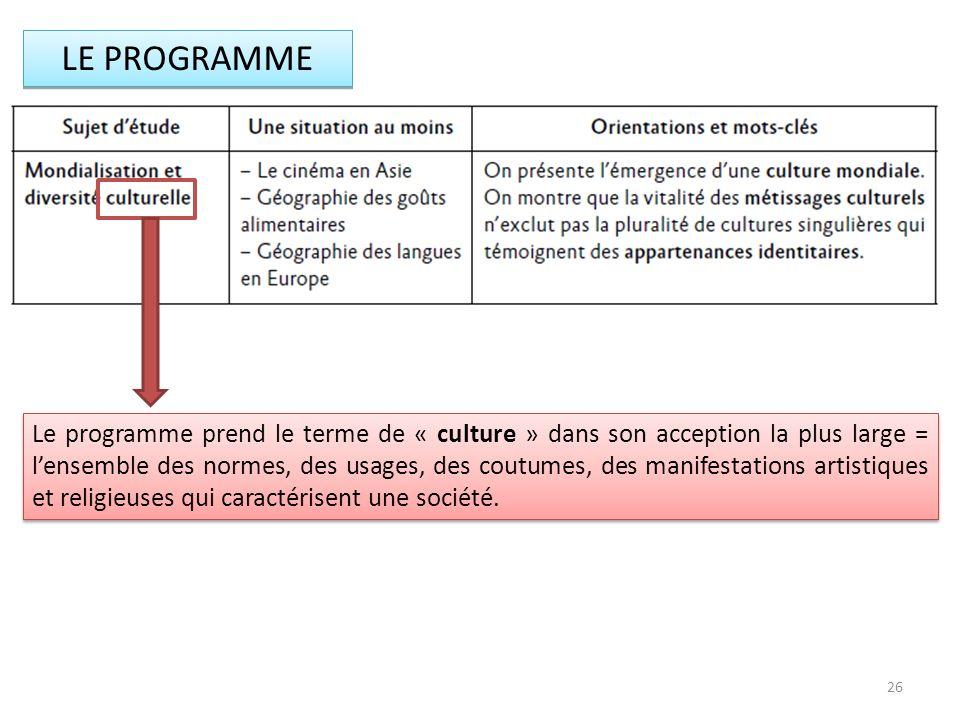 LE PROGRAMME Le programme prend le terme de « culture » dans son acception la plus large = lensemble des normes, des usages, des coutumes, des manifes