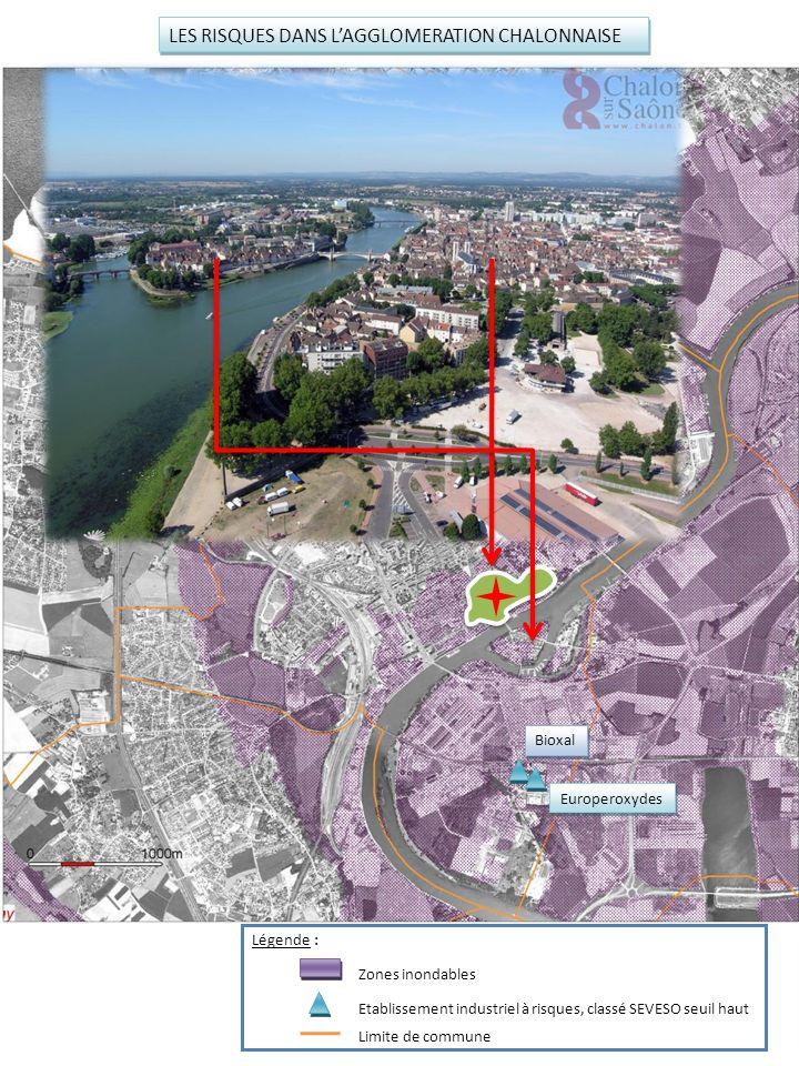 Bioxal Europeroxydes Raffinerie du Midi LES RISQUES DANS LAGGLOMERATION CHALONNAISE Légende : Zones inondables Etablissement industriel à risques, cla
