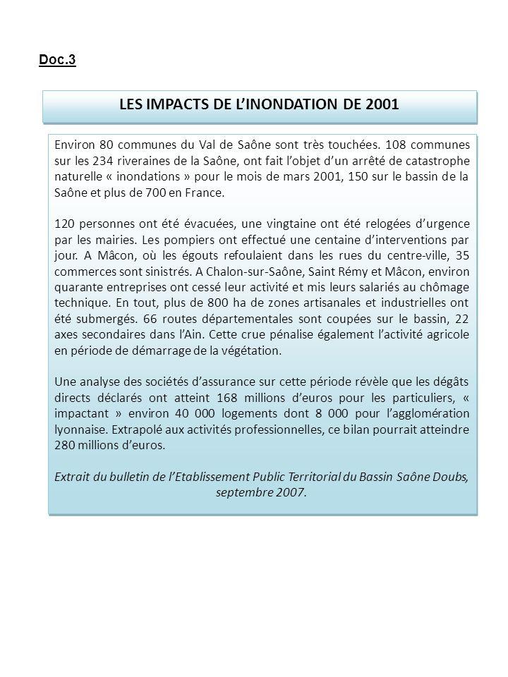 LES IMPACTS DE LINONDATION DE 2001 Environ 80 communes du Val de Saône sont très touchées. 108 communes sur les 234 riveraines de la Saône, ont fait l