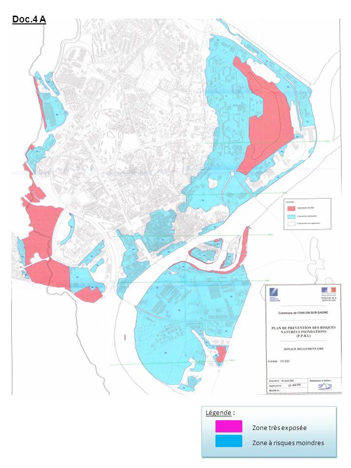 Légende : Zone très exposée Zone à risques moindres Légende : Zone très exposée Zone à risques moindres Doc.4 A
