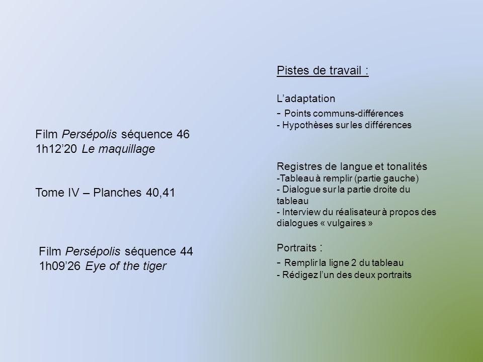 Film Persépolis séquence 46 1h1220 Le maquillage Tome IV – Planches 40,41 Pistes de travail : Ladaptation - Points communs-différences - Hypothèses sur les différences Registres de langue et tonalités -Tableau à remplir (partie gauche) - Dialogue sur la partie droite du tableau - Interview du réalisateur à propos des dialogues « vulgaires » Portraits : - Remplir la ligne 2 du tableau - Rédigez lun des deux portraits Film Persépolis séquence 44 1h0926 Eye of the tiger