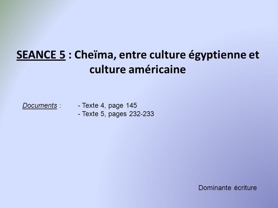 SEANCE 5 : Cheïma, entre culture égyptienne et culture américaine Documents :- Texte 4, page 145 - Texte 5, pages 232-233 Dominante écriture