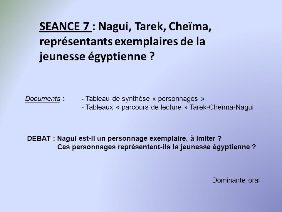 SEANCE 7 : Nagui, Tarek, Cheïma, représentants exemplaires de la jeunesse égyptienne ? Dominante oral Documents :- Tableau de synthèse « personnages »