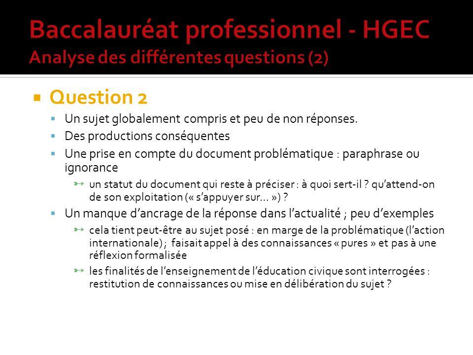 Question 2 Un sujet globalement compris et peu de non réponses.