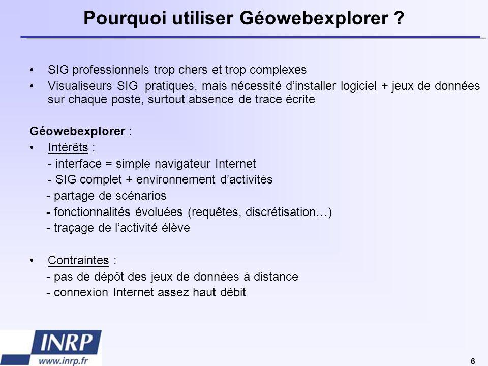 7 Plus dinfos… Présentation complète de Géowebexplorer http://dossier.univ-st-etienne.fr/crenam/www/recherche/PPT_GeoUJM_fichiers/frame.html Accès à la plate-forme http://geopc6.univ-st-etienne.fr/geowebexplorer/ Observatoire des pratiques géomatiques pour le second degré (INRP) : http://praxis.inrp.fr/praxis/projets/Projet%20geomatique/ Forum de discussion : http://listes.inrp.fr/wws/info/geomatique