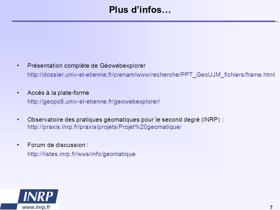 7 Plus dinfos… Présentation complète de Géowebexplorer http://dossier.univ-st-etienne.fr/crenam/www/recherche/PPT_GeoUJM_fichiers/frame.html Accès à l