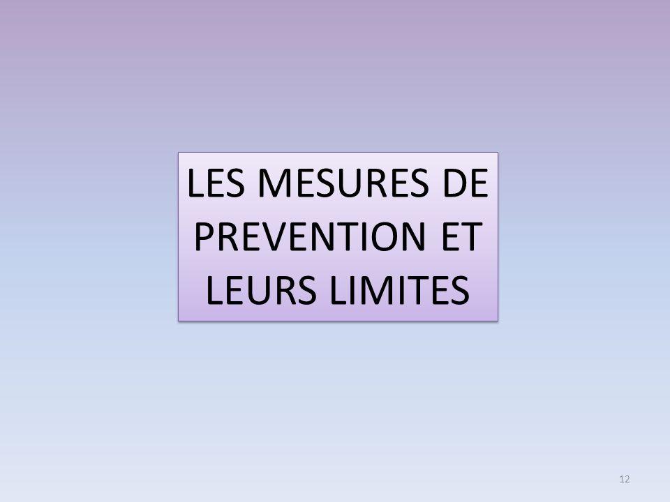 LES MESURES DE PREVENTION ET LEURS LIMITES 12