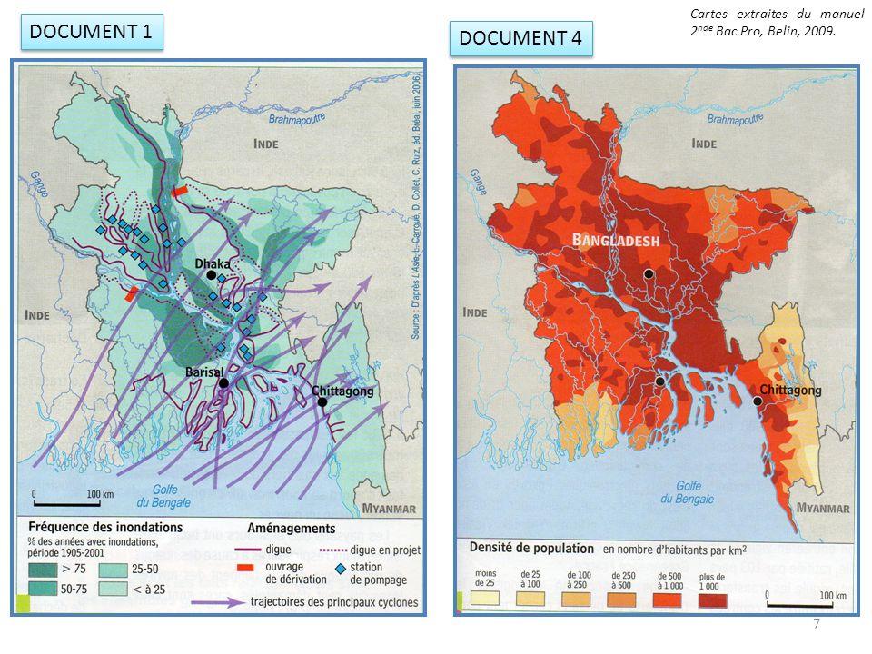 En mettant en relation les documents 4 et 1, quel rapport établissez-vous entre les densités de population et les zones inondables .