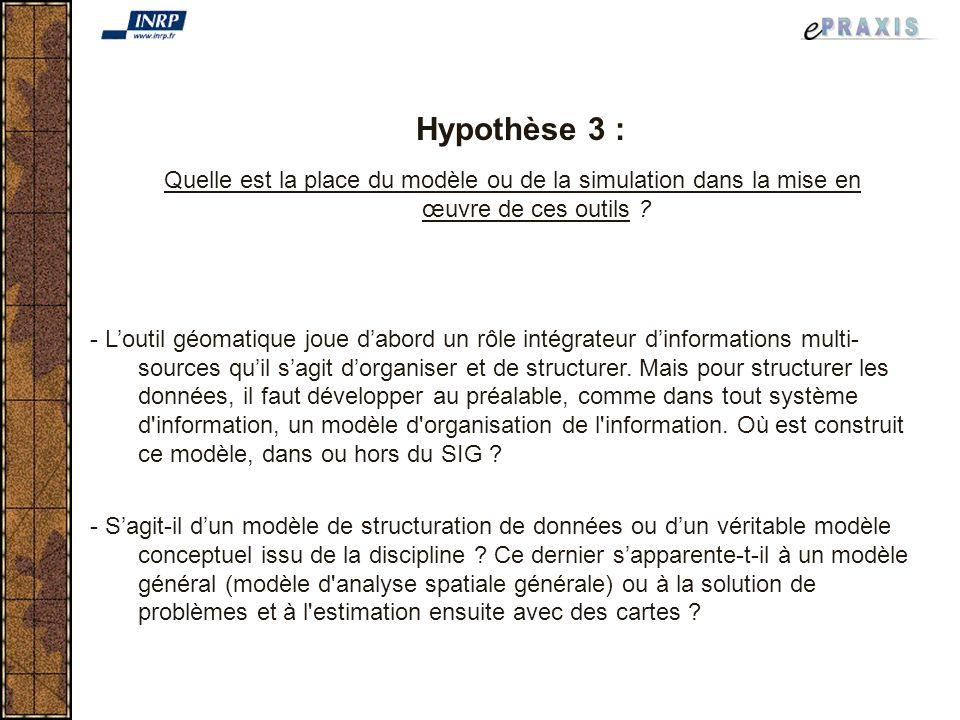 Hypothèse 3 : Quelle est la place du modèle ou de la simulation dans la mise en œuvre de ces outils .