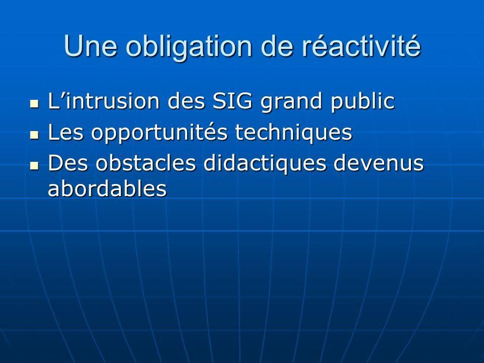 Une obligation de réactivité Lintrusion des SIG grand public Lintrusion des SIG grand public Les opportunités techniques Les opportunités techniques Des obstacles didactiques devenus abordables Des obstacles didactiques devenus abordables
