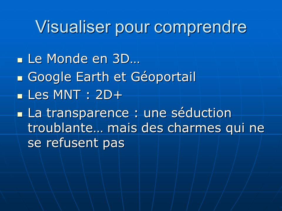 Visualiser pour comprendre Le Monde en 3D… Le Monde en 3D… Google Earth et Géoportail Google Earth et Géoportail Les MNT : 2D+ Les MNT : 2D+ La transparence : une séduction troublante… mais des charmes qui ne se refusent pas La transparence : une séduction troublante… mais des charmes qui ne se refusent pas