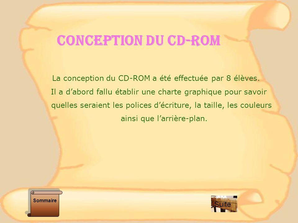 CONCEPTION DU CD-ROM La conception du CD-ROM a été effectuée par 8 élèves. Il a dabord fallu établir une charte graphique pour savoir quelles seraient