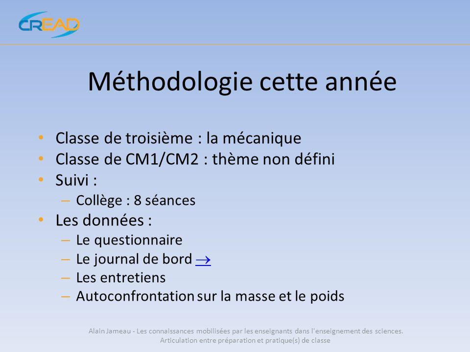 Méthodologie cette année Classe de troisième : la mécanique Classe de CM1/CM2 : thème non défini Suivi : – Collège : 8 séances Les données : – Le ques