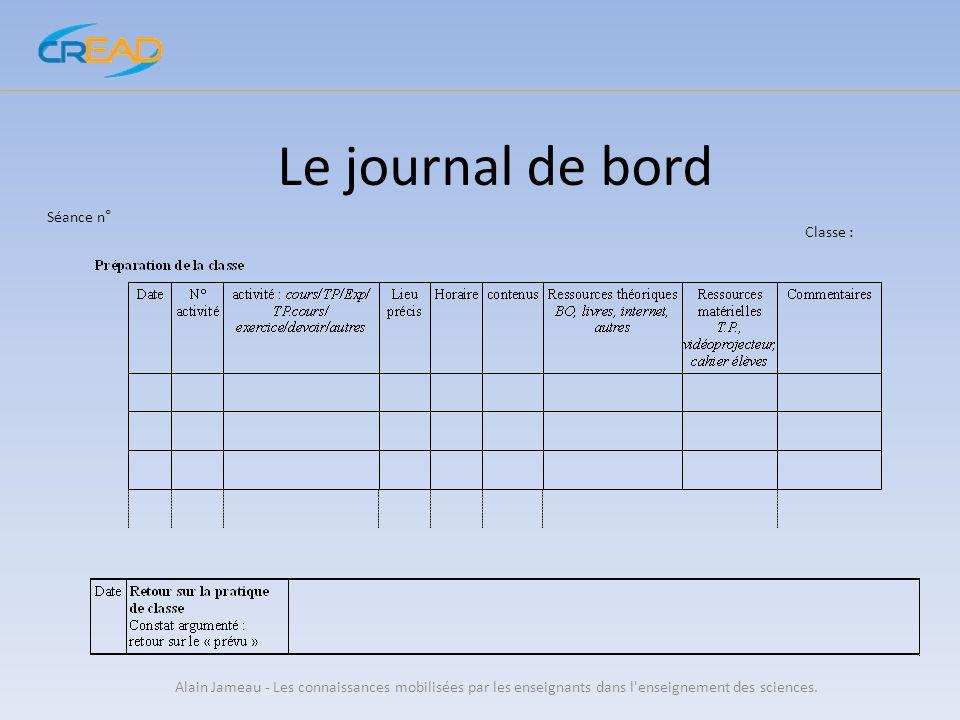 Le journal de bord Alain Jameau - Les connaissances mobilisées par les enseignants dans l'enseignement des sciences. Séance n° Classe :