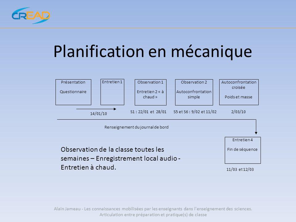 Planification en mécanique Alain Jameau - Les connaissances mobilisées par les enseignants dans l'enseignement des sciences. Articulation entre prépar