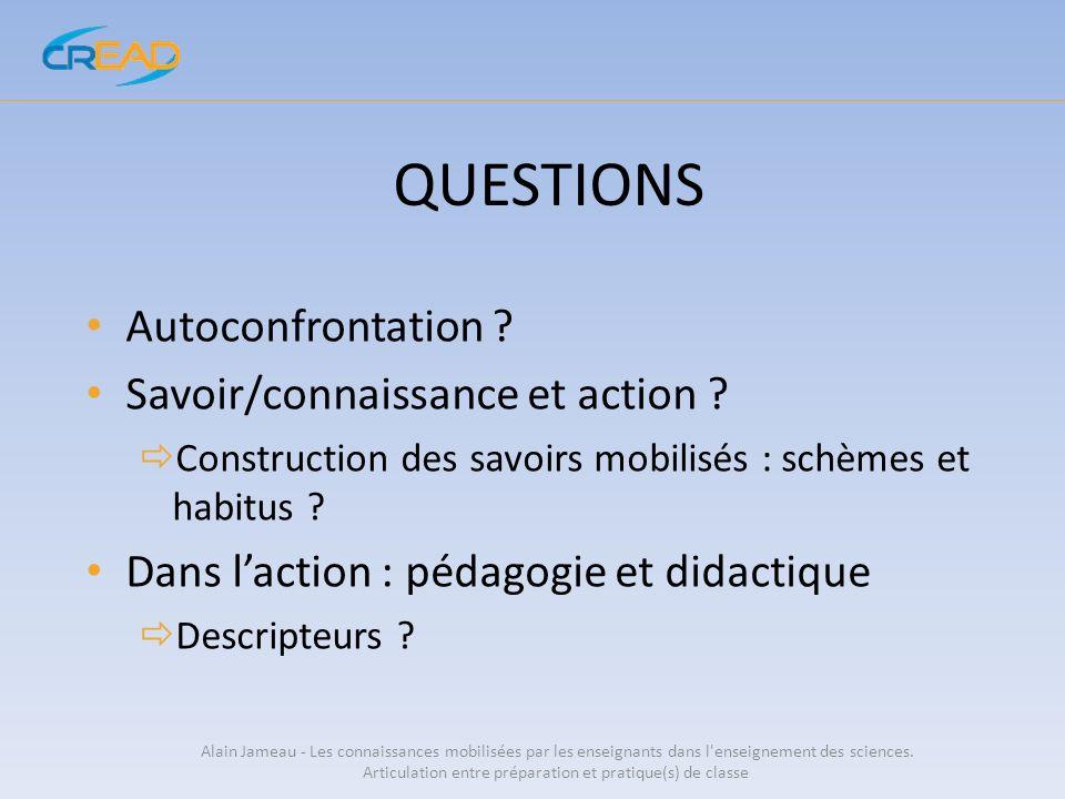 QUESTIONS Autoconfrontation ? Savoir/connaissance et action ? Construction des savoirs mobilisés : schèmes et habitus ? Dans laction : pédagogie et di