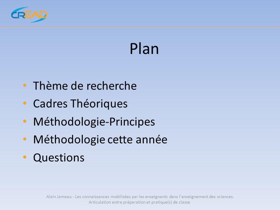 Plan Thème de recherche Cadres Théoriques Méthodologie-Principes Méthodologie cette année Questions Alain Jameau - Les connaissances mobilisées par le