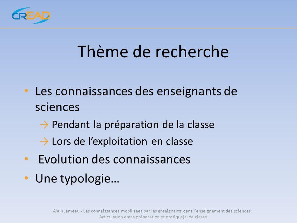 Thème de recherche Les connaissances des enseignants de sciences Pendant la préparation de la classe Lors de lexploitation en classe Evolution des con
