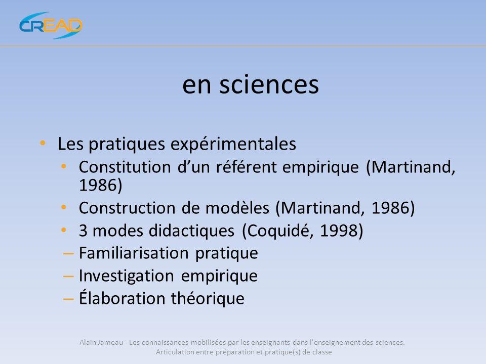en sciences Les pratiques expérimentales Constitution dun référent empirique (Martinand, 1986) Construction de modèles (Martinand, 1986) 3 modes didac