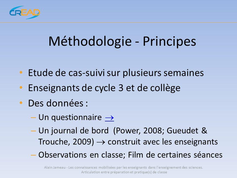Méthodologie - Principes Etude de cas-suivi sur plusieurs semaines Enseignants de cycle 3 et de collège Des données : – Un questionnaire – Un journal