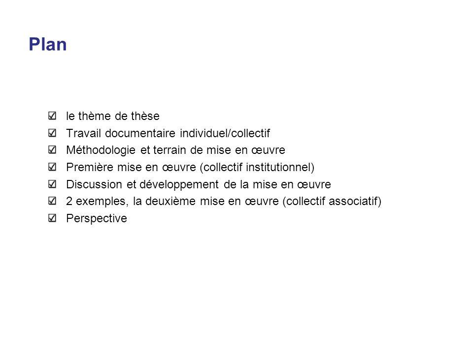 Plan le thème de thèse Travail documentaire individuel/collectif Méthodologie et terrain de mise en œuvre Première mise en œuvre (collectif institutio