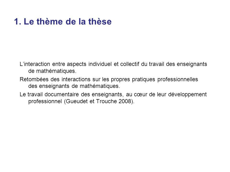 1. Le thème de la thèse Linteraction entre aspects individuel et collectif du travail des enseignants de mathématiques. Retombées des interactions sur