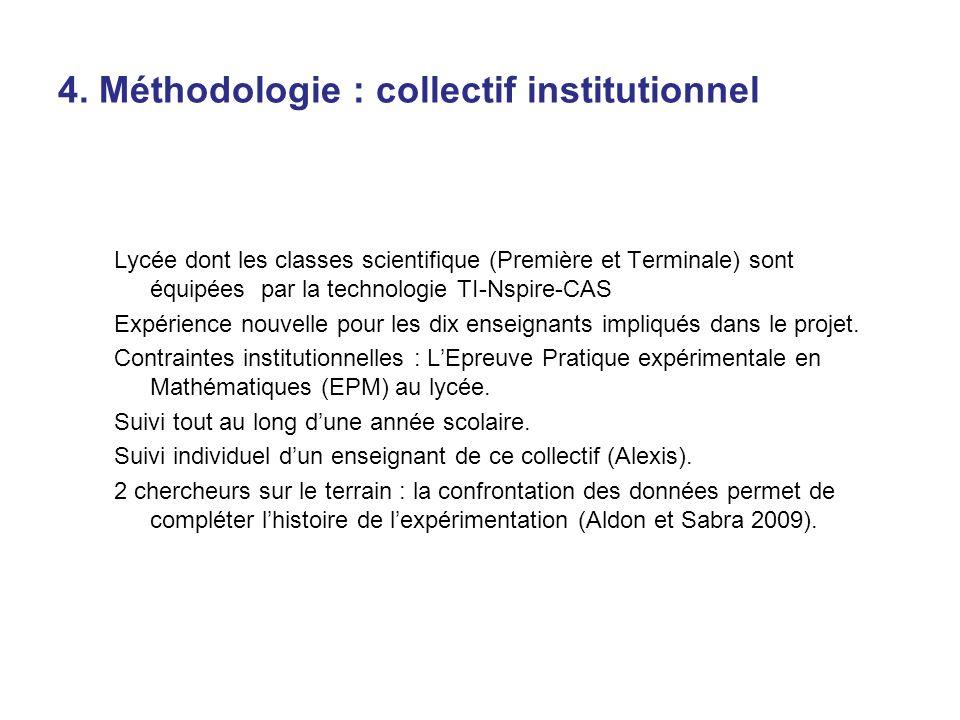 4. Méthodologie : collectif institutionnel Lycée dont les classes scientifique (Première et Terminale) sont équipées par la technologie TI-Nspire-CAS