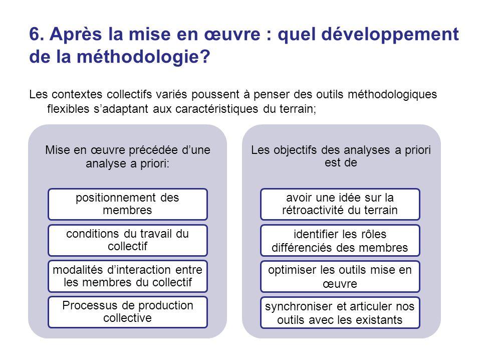 6. Après la mise en œuvre : quel développement de la méthodologie? Les contextes collectifs variés poussent à penser des outils méthodologiques flexib