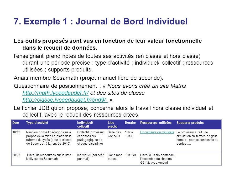 7. Exemple 1 : Journal de Bord Individuel Les outils proposés sont vus en fonction de leur valeur fonctionnelle dans le recueil de données. lenseignan