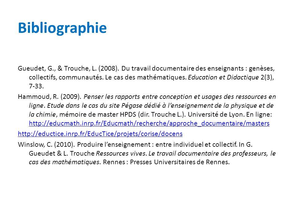 Bibliographie Gueudet, G., & Trouche, L. (2008). Du travail documentaire des enseignants : genèses, collectifs, communautés. Le cas des mathématiques.