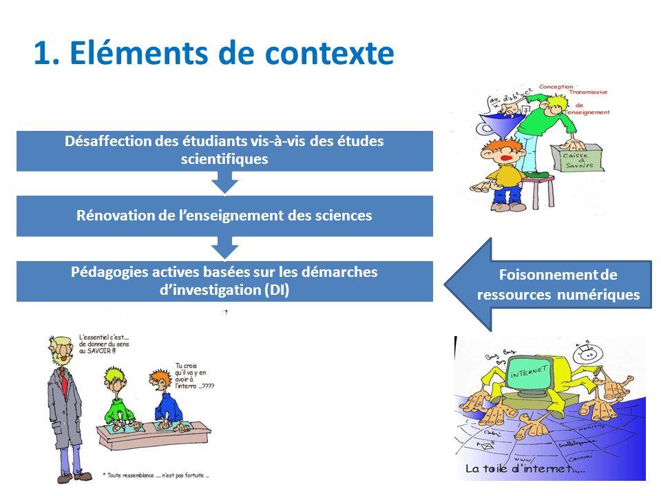 1. Eléments de contexte Pédagogies actives basées sur les démarches dinvestigation (DI) Rénovation de lenseignement des sciences Désaffection des étud