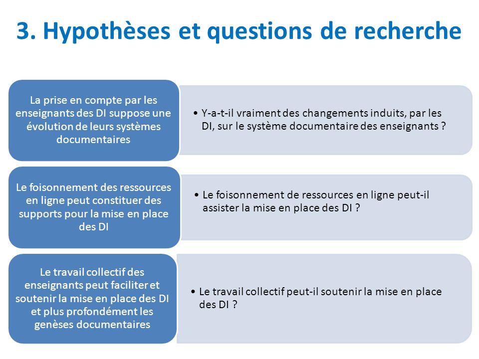 3. Hypothèses et questions de recherche Y-a-t-il vraiment des changements induits, par les DI, sur le système documentaire des enseignants ? La prise