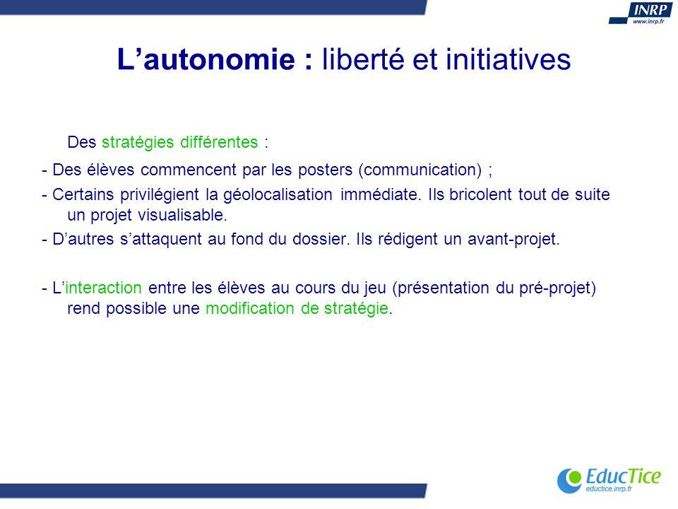 Lautonomie : liberté et initiatives Des stratégies différentes : - Des élèves commencent par les posters (communication) ; - Certains privilégient la