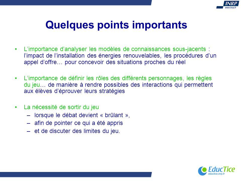 Quelques points importants Limportance danalyser les modèles de connaissances sous-jacents : limpact de linstallation des énergies renouvelables, les