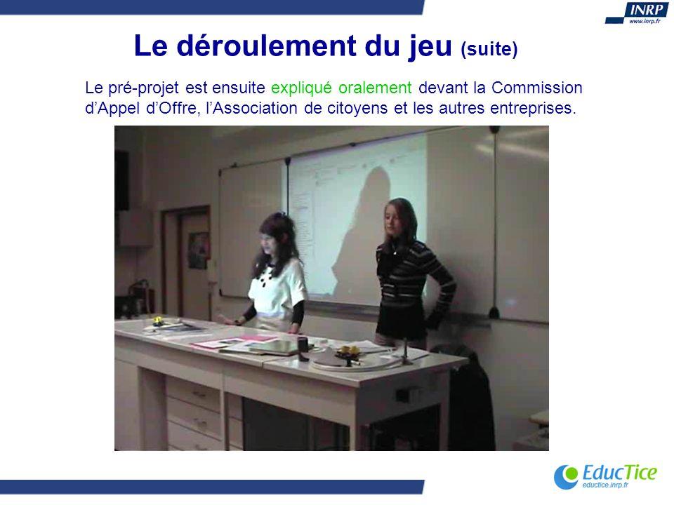Le déroulement du jeu (suite) Le pré-projet est ensuite expliqué oralement devant la Commission dAppel dOffre, lAssociation de citoyens et les autres