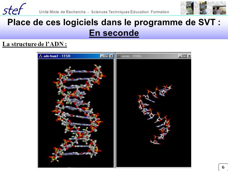 Unité Mixte de Recherche - Sciences Techniques Éducation Formation 6 Place de ces logiciels dans le programme de SVT : En seconde La structure de lADN
