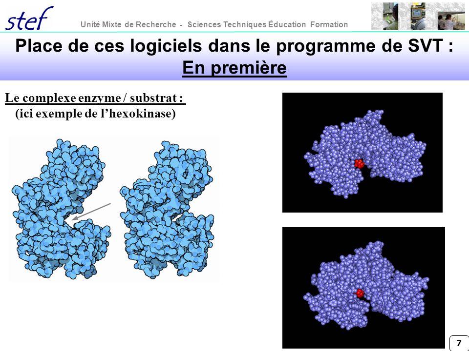 Unité Mixte de Recherche - Sciences Techniques Éducation Formation 7 Le complexe enzyme / substrat : (ici exemple de lhexokinase) Place de ces logicie